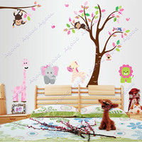 Wholesale Monkey Lion Tree Removable Vinyl Wall Decal Stickers Kids Room Home Decor TK1413