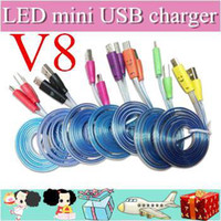For Apple iPhone aa usb cable - 500pcs Visible Micro USB V8 Charger Cable LED Color Light for Samsung Galaxy S4 Data Smiley Flashing M Noodle Charging Cords AA