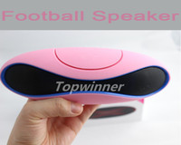 Wholesale 15pcs DHL Free Portable Mini Rugby Olive Football Wireless Bluetooth Speaker Speakers TF Card MP3 Player for iPhone S Samsung S5 i9600