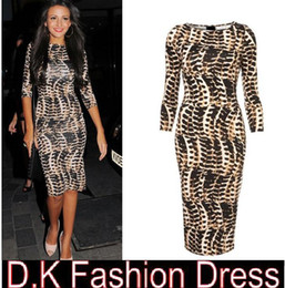 Wholesale New spring and winter dress leopard print sexy hip slim half sleeve one piece dress Bodycon Stretch Party Club dress free ship DK1100YZ
