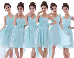Elegant Sleeveless Short Flowers Chiffon Formal Prom Party Dress Bridesmaid Dresses Cheap In Stock 5 Styles 4 Colors to Choose