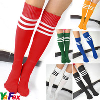 Wholesale Men Ladies Football Running Knee High Stripe Tube Socks Hosiery Sport Soccer Stockings KX21