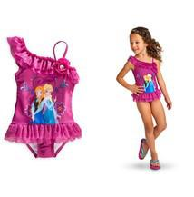Wholesale 1404z retail Beach Supplies Kids Swimwear SwimSuit Swim Wear One Piece Swim Bodysuit Frozen Anna amp Elsa Purple Frozen Swim