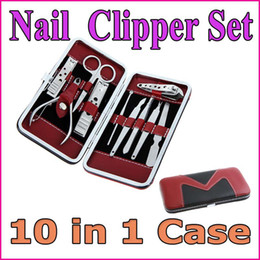 Wholesale Professional Nail Tools Stainless Steel Manicure Pedicure Ear pick Nail Clippers Set in Case With PU Leather