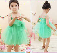 TuTu Summer Pleated New Arrival Hot Children's summer dress baby girl green Bow gauze vest dress Tee Dress sling dress Sundresses Princess dress