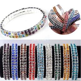 Fashion Wedding Bridal Clear Crystal Shinning Rhinestone Silver Plated Stretch Bracelets 2 Rows Elastic Bangle for Women