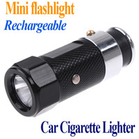 Wholesale 3 Modes Mini Led flashlights Car Cigarette Lighter led Rechargeable Flashlight torch Retail and