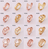 Wholesale Sparkly K Gold Plated Rose Gold plated with Clear Crystal RING Rhinestone Rings Mixed Styles