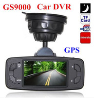 2 channel 2.7 LED New GS9000 pro Car DVR video Recorder vehicle driving Camera Ambarella 1080P Full HD 2.7'' LCD with GPS truck dash cam HK Post