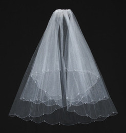 Wholesale In Stock White Beaded Wedding Veils Two Layer Crystal With Comb Beads Elbow Length Bridal Veil For Wedding Dresses Accessories Hot Sale
