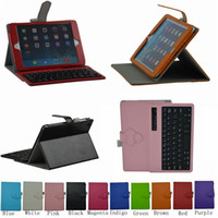 Wholesale Band New Folio Stand Case Cover With Detachable Bluetooth Keyboard For Apple iPad Mini nd Retina Ten Colors Mix