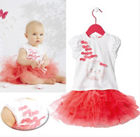 Girl Summer Short Children Clothes Wholesale Beautiful Baby Girls 2pcs Summer Outfits White Bow T-shirt + Red Tutu Lace Skirt girls suits 5pcs lot