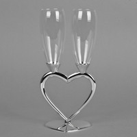 Wholesale Silver plated heart shape champagne glass champagne flute for weddings or party for lovers
