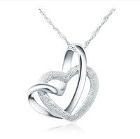 Silver silver - Aivni fashion love heart shaped solid sterling silver pendants gifts for women ni2061