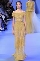 Reference Images Off-the-Shoulder Crepe 2014 New Gold Elie Saab Evening Dresses Sexy Sheer Off Shoulder Backless Formal Celebrity Gown W0627