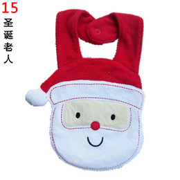 Wholesale 2014 new Santa Claus Towel waterproof baby Feeding Animal Button bibs colors feedings Baby Bibs layer ALH923H