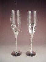 Wholesale Silver plated stain steel metal heart shape champagne glass with diamonds champagne flute for weddings or party