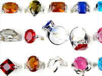 Cluster Rings Women's Invisible Setting 25pcs Wholesale Jewelry Lots Mixed Colors Women Crystal CZ Zircon Silver p Rings