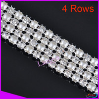Wholesale LY13430 Rhinestone pearl trimming mesh Rows with peal and ss19 Crystal Silver base y roll CPAM free Crystal rhinestone mesh