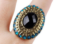 Cluster Rings Women's Party Vintage Cocktail Big Black Stone with Blue Crystal Rhinestones Adjustable Ring