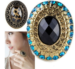 New Arrival Fashion Vintage Rock Costume Facet Rhinestone Adjustable Oval Ring for Women 10pcs Free Shipping
