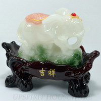 Bamboo Folk Art China Free shipping 2pcs set polished lucky resin jade elephant home decoration party decor novelty households gift