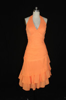 al por mayor naranja alto-bajo del baile vestido-Naranja Homecoming Vestidos Sexy V Neck Halter Alto Low Hi-Lo Tiers Fold Chiffon Prom Dresses Vestidos de fiesta