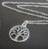 Alloy antique long pendants - tree of life necklace long necklace tree necklace bird jewelry antique silver necklace tree of life jewelry pendant