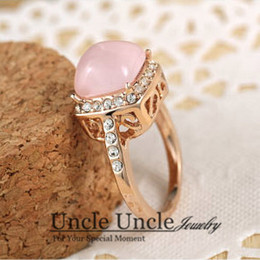 Wholesale Sweet K Rose Gold Plated High Quality Pink Opal Rhinestones Inlay Retro Lady Finger Ring