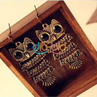 Wholesale Retro Design Fashion Jewelry Chic Cute Animal Owl Dangle Ear Hook Earrings New