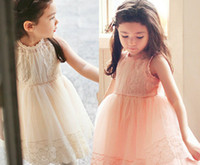 Summer cute dress - New Summer Cute Sleeveless Baby Girl Lace Princess Dress Children Tulle Gauze Dress Clothes Pink Beige