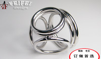 Wholesale New Male Delay Toys Steel Chastity Cock Rings NEW STYLE Holes Two Size Can Chose Metal FETISH Delayed Ejaculating Ring