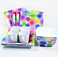 Wholesale Free DHL melamine dinner set plastic family dinnerware for person fruit plate soup bowl tea cup holder dish