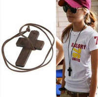 wood cross - New Fashion accessories Jewelry Korean Style Wood Cross pendant leather string sweater long chain Necklace