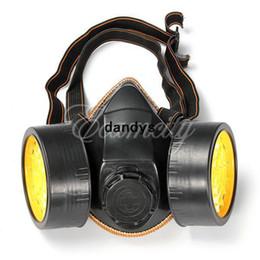 Promotion masque pour les produits chimiques Dandys d'expédition sécurité Protection anti-poussière Spray chimique gaz Double Double cartouche respirateur peinture filtre visage masque en gros gratuits