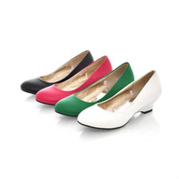 Lace-Up Women PU 2014 women's round toe high-heeled shoes 34 - 43 plus size wedges platform shoes for women black pink green white h31345