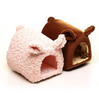 Wholesale On sale pink and coffee cute pig pet dog house high quality pet bed MOQ