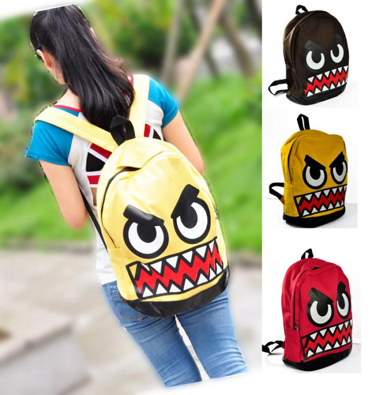 New Korean Women Girl Funny Face Backpack Cool School Book Bag ...
