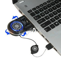 Wholesale Mini Vacuum Blue LED USB Air Extracting Cooling Fan Cooler for Notebook Laptop Retractable Cable dandys