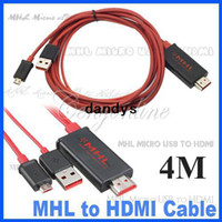Wholesale 4M MHL Micro USB to HDMI Cable Adapter HDTV for Galaxy S2 i9100 Note i9200 for HTC Sensation EVO D dandys