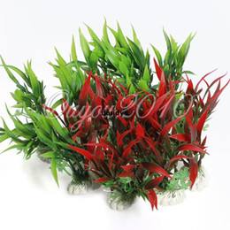 Wholesale 5pcs Vivid Plastic Aquarium Decorations Artificial Plants Fish Tank Grass Flower Ornament Decor dandys