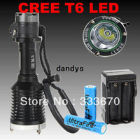 Wholesale 100 New Lumens Diver Diving CREE XM L LED Flashlight Torch Waterproof Light Lamp batteries batteries charger dandys