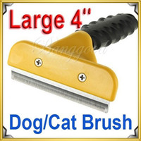 Wholesale Dog Cat Pet Brush Grooming Comb Hair Fur Remover Shedding Trimmer Rake Tool Large Yellow dandys
