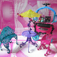 Wholesale T0311 Monster High Plastic Travel accessories Table Chair Bench Umbrella Toy Furniture Brand New Hot Sale One Set