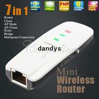 achat en gros de b g n wifi répéteur-Mini Pocket 7 en 1 sans fil 802. 11 b/g/n AP Client WLAN WIFI routeur répéteur Booster Extender + livraison gratuite de détail paquet dandys