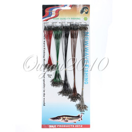 100pcs/set 5 Colors Stainless Steel Coated Fishing Trace Lure Wire Spinner Leader Hooks Swivel Interlock Snaps Free Shipping,dandys