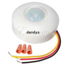 Wholesale White New Body Sensor Light Control Switch IR Infrared Motion Ceiling Automatic on off Wall Mount Lamp dandys