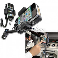 Wholesale New in HandsFree Car Kit FM Radio Transmitter Mount Charger Holder Remote for iPhone S G For iPod Touch dandys