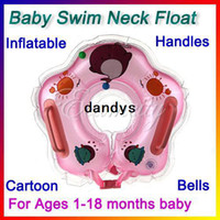 Wholesale New Baby Neck Swim Float Ring Cartoon Handles Bells Safe Pools Infant Swimming for Bath Inflatable Floats dandys