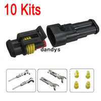 Cheap New Car Part 10 kit 2 Pin Way Sealed Waterproof Electrical Wire Auto Connector Plug Set,dandys